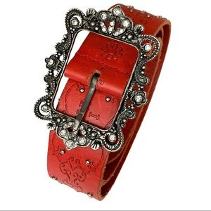 Anna Sui Red Rhinestone Silver Beaded Belt